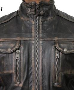 Mens Leather Jacket Genuine Sheepskin Vintage Distressed