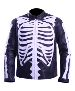 Skeleton Leather Jacket For Mens Motorcycle Bikers Costume