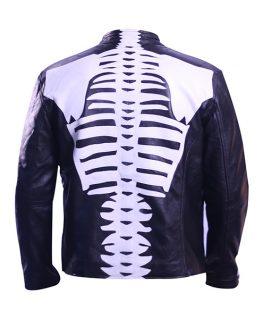 Skeleton Leather Jacket For Mens Motorcycle Bikers Costume