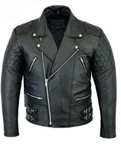 Real Leather Biker Brando Jacket Classic Retro Black Motorcycle Style