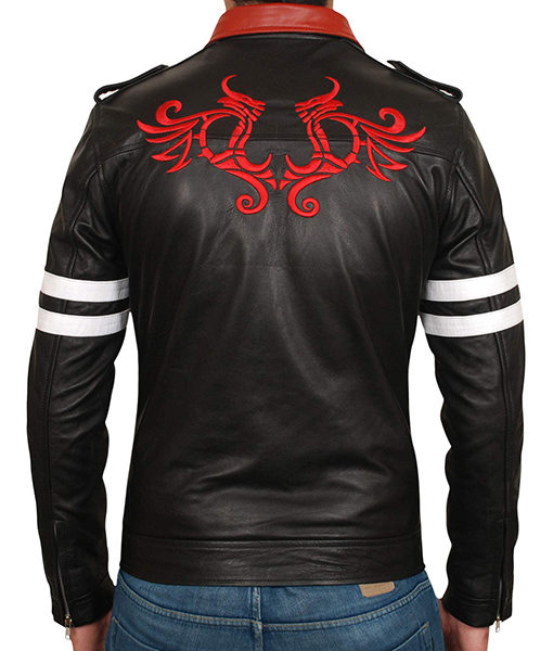 Prototype Racing Red Collar White Striped Mens Black Biker Leather Jacket