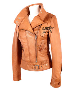 Ladies Cosmopolitan Tan Designer Rock Fashion Girls Real Leather Jacket