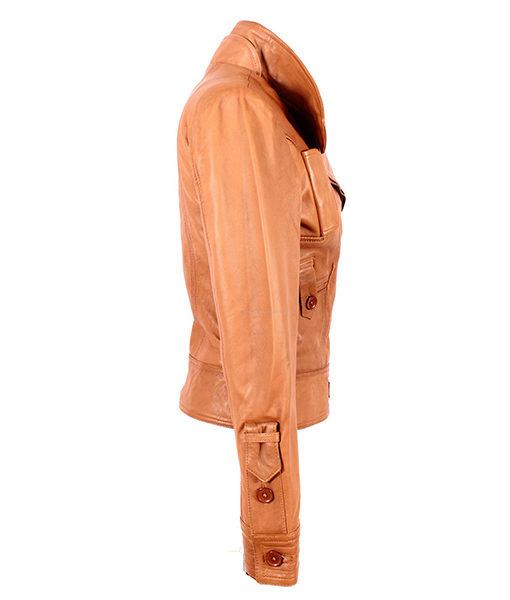 Ladies Cosmopolitan Tan Designer Rock Fashion Girls Real Leather Jacket