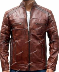 Mens Cafe Racer Distressed Brown Leather Jacket