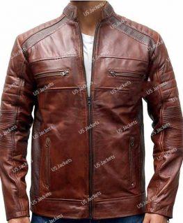 Mens Cafe Racer Distressed Brown Leather Jacket