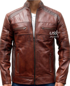 Distressed Cafe Racer Motorcycle Vintage Leather Jacket