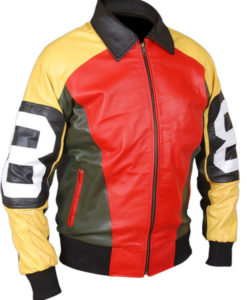 Mens' David Puddy Patrick Yellow, Black and Red Biker Jacket