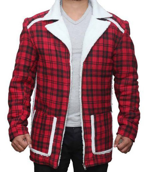 Denver Red Flannel Checkered Style Mens Fur Shearling Jacket