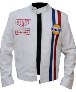 Mens Steve Mcqueen Le Mans White Gulf Driver Grandprix Racing Style Leather Jacket