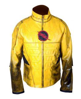 Men's Reverse Flash Eobard Thawne Zoom Yellow Lightning Leather Jacket