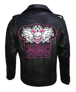 Wwe Bret Heart Hitman Black Leather Jacket For Men