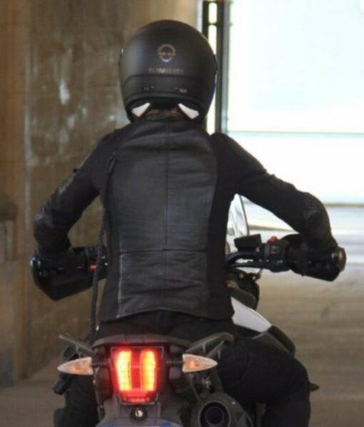 Mission Impossible 6 Rebecca Ferguson Erect Collar Zip Closure Black Leather Biker Jacket