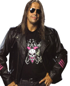 Wwe Bret Heart Hitman Black Leather Jacket For Men