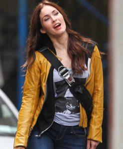 Megan Fox TMNT Yellow Leather Jacket