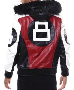 8 Ball Leather Jacket Bomber Jacket With Hood