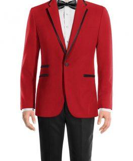 Peak Lapel Mens Red and Black Tuxedo