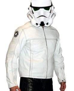 Mens Star Wars Stormtrooper Leather Jacket Armor White