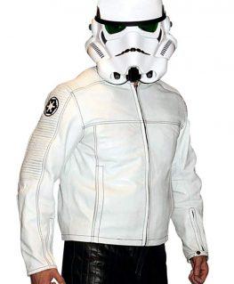 Mens Star Wars Stormtrooper Leather Jacket Armor White