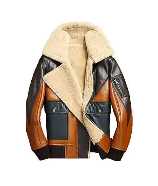 Sheepskin Shearling Bomber Leather Jacket