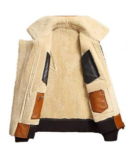 Sheepskin Shearling Bomber Leather Jacket