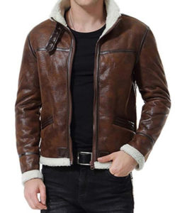 Reno Brown Shearling Leather Jacket Mens
