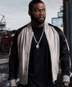 50 CENT POWER BLACK AND WHITE LEATHER JACKET