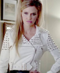 True Blood Pam White Cropped Studded Biker Jacket