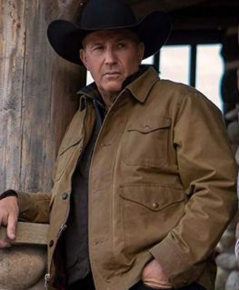 Yellowstone Season 2 Kevin Costner Cotton Brown Jacket front