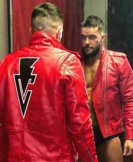WWE RAW Finn Balor Red Biker Leather Jacket