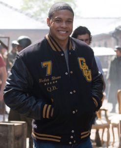Cyborg Justice League Ray Fisher Black Varsity Wool Blend Jacket