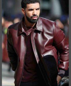 Drake Maroon Leather Jacket