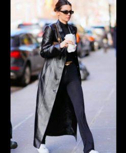 Kendall Jenner Black Leather Coat