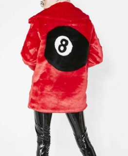 8 Ball Red Fur Jacket