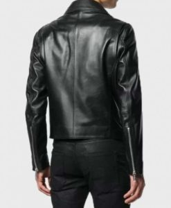 Mens Black Double-Zip Motorcycle Jacket
