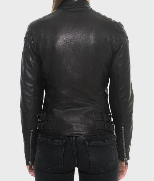 Womens Black Motorcycle Slimfit Jacket