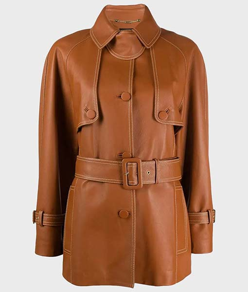 Women's Brown Belted Leather Coat