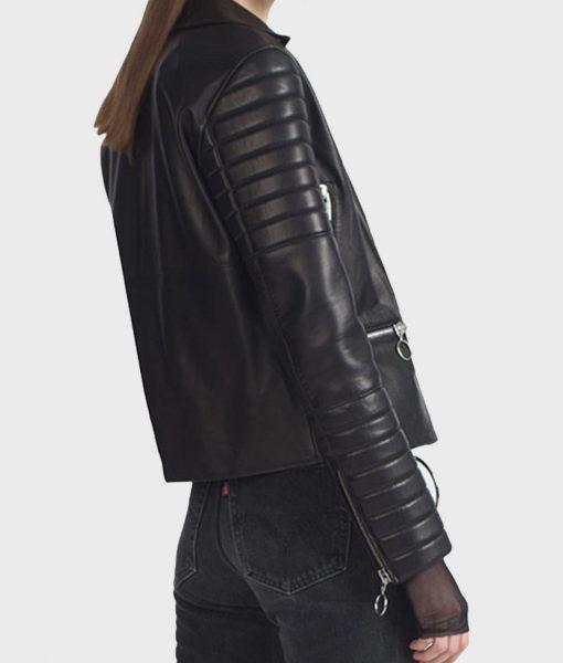 Womens Padded Sleeves Black Motorcycle Jacket