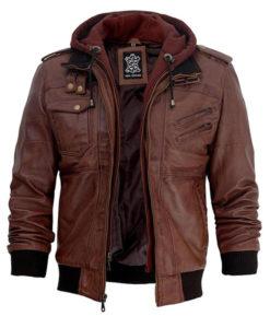 Dark Brown Hooded Leather Jacket