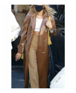 Hailey Bieber Alligator Brown Leather Coat