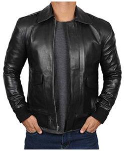 Mens Black Lambskin A2 Jacket
