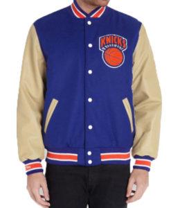 New York Knicks Varsity Jacket With Leather Sleeves