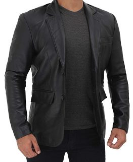 Frank Mens Black Lambskin Leather Blazer