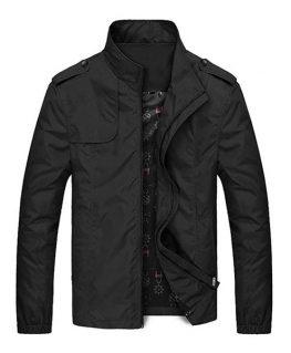 Franklin Black Slim Fit Mens Casual Stand Up Collar Jacket