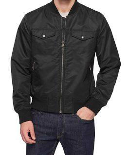 Harry Mens Black Trucker Style Modern Fit Bomber Jacket