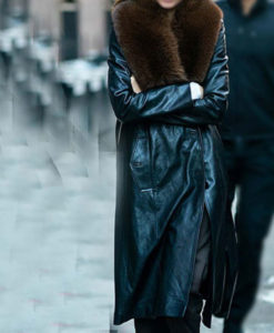 Kendall Jenner Black Leather Fur Coat