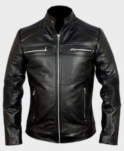 Mens Black Biker Cafe Racer Jacket