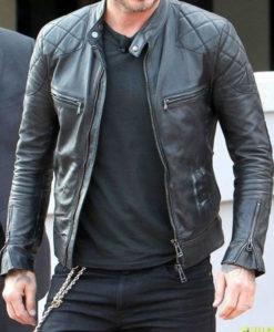 Mens Black Quilted David Beckham Leather Jacket