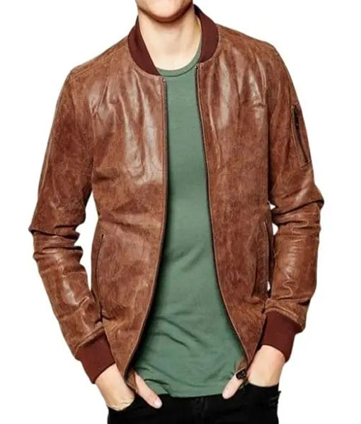 Mens Distressed Brown Bomber Leather Jacket
