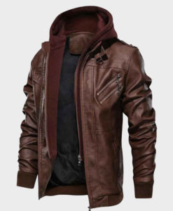 Men's Brown Bomber Leather Jacket with Hood