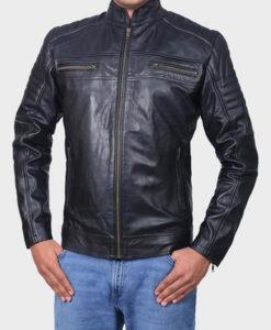 Mens Cafe Racer Black Classic Biker Jacket